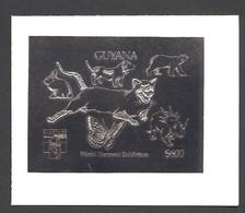 Guyana, 1992, Dog, Bear, Rabbit, Cougar, Butterfly, Dinosaur, Genova, Silver, MNH Imperforated, Michel 3979B - Guyana (1966-...)
