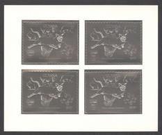 Guyana, 1992, Dog, Bear, Rabbit, Cougar, Butterfly, Dinosaur, Genova, Silver, MNH Perforated Sheetlet, Michel 3979BA - Guyana (1966-...)