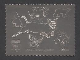 Guyana, 1992, Dog, Bear, Rabbit, Cougar, Butterfly, Dinosaur, Genova, Silver, MNH Perforated, Michel 3979BA - Guyana (1966-...)