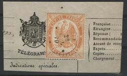 """TELEGRAPHE N°7 1 Fr Orange Dentelé Obl C. à D. Ondulé """"AIX 26/-/70"""" Sur Un Fragment De Télégramme (voir Description) - Telegraaf-en Telefoonzegels"""
