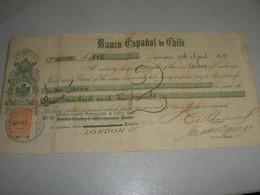 LETTERA DI CAMBIO  BANCO ESPANOL DE CHILE 1919 IQUIQUE -LONDON COUNTY WESTMINSTER & PARR'S BANK - Bills Of Exchange