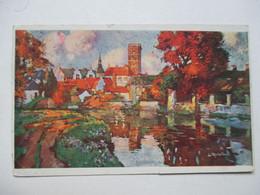 EXPOSITION  DE  GAND  1913   -    VILLE   AU  BORD D'UN   LAC   ...         TTB - Gent