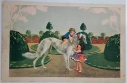 BAMBINI CHE GIOCANO IN GIARDINO CON IL LORO CANE LEVRIERO AFGANO / BORZOI / SALUKI - NON FIRMATA - 1941 - Scenes & Landscapes