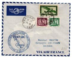Carta Con Matasellos De 1939 Primer Vuelo Vientiane-saigon. - Covers & Documents