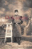"Carte Photo Militaria : Soldat Raoul Mieaux - Poilu Du 164e Circa 1915  "" Filleul De Verdun "" - Uniforms"