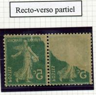 Variété Semeuse - N°137: 5c Vert - Recto-verso Partiel. - Curiosities: 1900-20 Mint/hinged