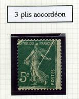 Variété Semeuse - N°137: 5c Vert - 3 Plis Accordéon. - Curiosità: 1900-20 Nuovi