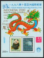 Panda BEAR 1977 Rat DRAGON Stamp Exhibition INDONESIA Asia Hologram Holography - Philatelist Memorial Sheet 2000 Hungary - Osos