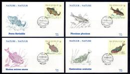 BE   FDC  2383 - 2386   ---  Nature : Poissons  --  Timbres Du Carnet B20  --  Obl. Liège - 1981-90