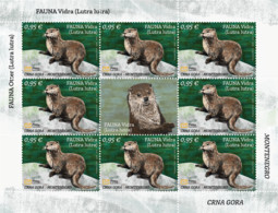 """2021 """"Fauna, Otter (Lutra Lutra)"""", Sheet Of 8 Stamps, Montenegro, MNH - Montenegro"""