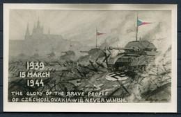"1944 GB Tank Prague Propaganda Postcard, C.S.P.P. Czechoslovak Field Post ""B"" Cancel - Storia Postale"