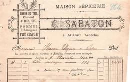 ARDECHE / JAUJAC / 1903 / EPICERIE SABATON / POUR ISTRES - 1900 – 1949