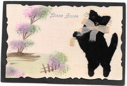 CHAT Noir En Feutrine Debout Sur Pattes Arrières, Autre Sujet Peint Main - Katten