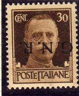 ITALIA REGNO ITALY KINGDOM 1944 VARIETÀ VARIETY REPUBBLICA SOCIALE G.N.R. RSI GNR CENT.30c MNH OTTIMA CENTRATURA FIRMATO - Ungebraucht