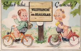 """Villefranche En Beaujolais """" Salut Bébé """"  Dépliant Complet 10  Multivues  Enfant Vélo - Villefranche-sur-Saone"""