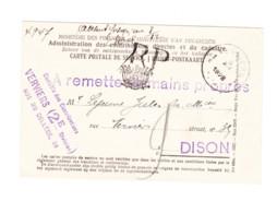 Carte Pré Imprimée - Administration Des Contributions Et Cadastre -  Recommandé 1928 - Marcophilie (B247) - Zonder Classificatie
