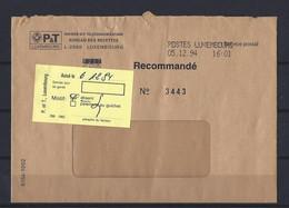 Luxembourg: Lettre En Recommandé Administratif (Absent) - Covers & Documents