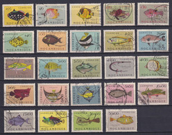 MOZAMBIQUE 1951, Sc# 332-355, CV $41, Fish, Used - Mozambique