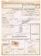 NS Spoorweg Vrachtbrief - Maastricht 1935 50 Cent Geel Spoorwegzegel > Droogzegel! - Railway