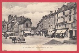CPA-50- SAINT-LO - Place Gambetta Et Rue Thiers - Messager De La Manche* Ann.20**Scan Recto/Verso - Saint Lo