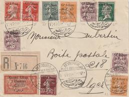 Grand Liban Lettre Recomandée De Beyrouth Oblitération Place  Des Canonns 10 11 1924 - Storia Postale