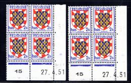YT-N°: 902 - Blason De TOURAINE, Coin Daté Du 27.04.1951, Galvano A+B, 1er Tirage, NSC/**/MNH - 1950-1959