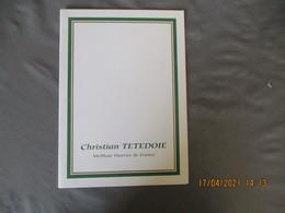 Menu Christian Tetedoie Meilleur Ouvrier France  Menu Tartines Et Tartelettes - Menus