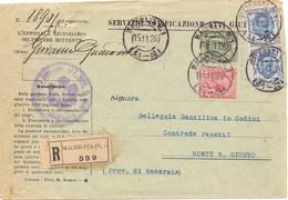 1926 Notifica Atti Giudiziari Con 3 Valori Floreale Per Monte S.GIUSTO. - Marcofilía