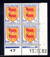 YT-N°: 901 - Blason De BÉARN, Coin Daté Du 13.11.1952, Galvano A De A+B, 6e Tirage, NSC/**/MNH - 1950-1959