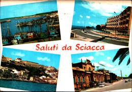 39792) CARTOLINA DI SCIACCA-VARIE VEDUTE-VIAGGIATA - Andere Steden
