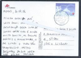 Postal Dos Açores Com Obliteração 'Bec Aeroporto Horta' (Beck Office Aeroporto Horta) 2002. Selo Sem Taxa Símbolo €. - Covers & Documents