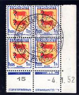 YT-N°: 901 - Blason De BÉARN, Coin Daté Du 04.01.1952, Galvano A De A+B, 4e Tirage 2e Partie, NSC/**/MNH Et Oblitéré - 1950-1959