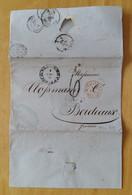 1862 REGNO INCOMING MAIL PALERMO-BARDEAUX+6 TIMBRI+AMBULANT M.CENIS ITALIE+TIMBRO TASSA C.6-BB982 - Marcophilia