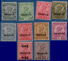 India British 1912-26, King Georg V Service Stamps MH 10 Values 2104.1706 - 1911-35 King George V