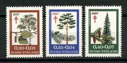 FINLANDE 1967 N° 593/595 ** Neufs MNH Superbes C 4.50 € Arbres Trees Bouleau Pin Sapin Lutte Antituberculeuse - Nuovi