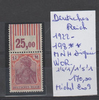TIMBRES D ALLEMAGNE NEUF**MNH 1922 Nr 198**MNH SIGNEE W OR 1,4,1/1,5,1  COTE 170.0   € - Ungebraucht