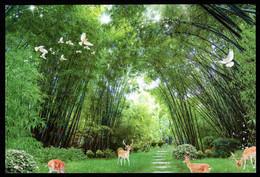 China Deer,Dove,Peony Flower In Bamboo Grove Postcard /Hirsch,Taube,Pfingstrosenblume Im Bambus Hain - China