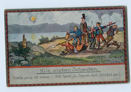 X1V54/ Märchen AK - Die Sieben Schwaben   AK Ca.1920 - Contes, Fables & Légendes