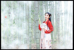 China Girl And Bamboo Grove Postcard /Mädchen Und Bambushain Postkarte - China