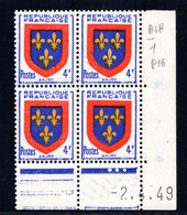 YT-N°: 838 - Blason De L'ANJOU, Coin Daté Du 02.04.1949, Galvano A De A+B, 1er Tirage, NSC/**/MNH - 1940-1949