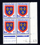 YT-N°: 838 - Blason De L'ANJOU, Coin Daté Du 04.04.1949, Galvano A De A+B, 1er Tirage, NSC/**/MNH - 1940-1949