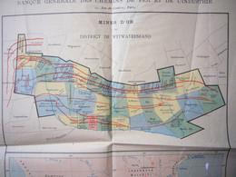 Carte De L'Afrique Du Sud Et Plan Des Mines D'or District De Witwatersrand 35 X 44 Cm - Carte Geographique