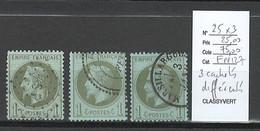 France -  - Yvert 25 - Napoléon Lauré 1 Centime Cachets Différents - 3 Piéces - 1863-1870 Napoleon III With Laurels