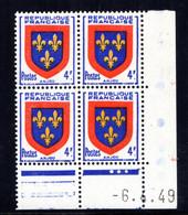 YT-N°: 838 - Blason De L'ANJOU, Coin Daté Du 06.04.1949, Galvano A De A+B, 1er Tirage, NSC/**/MNH - 1940-1949
