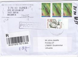 BULGARIA 2018 Registered Cover Sent To Lithuania Druskininkai #27166 - Briefe U. Dokumente