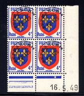YT-N°: P 105 - Blason De L'ANJOU, Coin Daté Du 16.05.1949, Galvano D De C+D, 1er Tirage, NSC/**/MNH - Voorafgestempeld