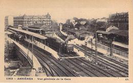 GARES Avec TRAIN - ASNIERES : Vue Générale De La Gare Et Des Quais ( Train à Vapeur En Gare ) CPA - Hauts De Seine - Stazioni Con Treni