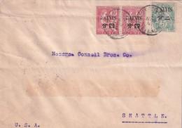 CHINE 1911 Lettre De Tien-Tsin 天津 Pour SEATTLE USA - Au Verso Cachets Shanghai, Nagasaki Voir Scan - Briefe U. Dokumente