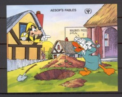 Disney Maldives 1990 Aesop's Fables - The Miser's Gold MS MNH - Disney