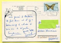 VALLS D'ANDORRA . PAL -vue Générale - Timbre Papillon , Butterfly Stamp . - Andorra